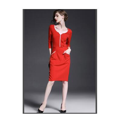 Dark Blue Red White Long Sleeve Belted Peplum Midi Dress OL Fashion LC6163