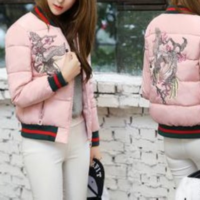 YiWenGe new female winter brief paragraph down cotton-padded jacket printed fashion leisure relaxed han edition small coat