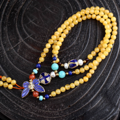 6mm Many pieces beeswaxs overlap together,216prayers beads,enamel 925 pure silver,