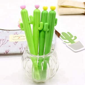 Wholesale Promotional 0.5mm Silicone Cactus Shape Gel Ball Pen With Custom LOGO