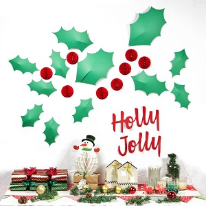 Paper Christmas Decoration Leaves, Honeycomb Balls and Letters 3D Stickers